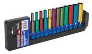 "Sealey AK282D Multi-Coloured Socket Set 12pc 1/4""Sq Drive 6pt Deep WallDriveå¬ Metric"