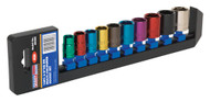 "Sealey AK285 Multi-Coloured Socket Set 10pc 3/8""Sq Drive 6pt WallDriveå¬ Metric"