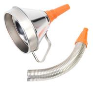 Sealey FM16F Funnel Metal with Flexible Spout & Filter åø160mm