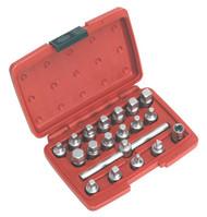 """Sealey AK6586 Oil Drain Plug Key Set 19pc 3/8""""Sq Drive"""