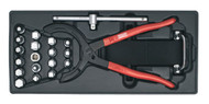 Sealey TBT28 Tool Tray with Oil Filter Wrench, Pliers & Drain Plug Set 21pc