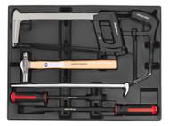Sealey TBT30 Tool Tray with Prybar, Hammer & Hacksaw Set 6pc