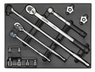 Sealey TBT32 Tool Tray with Ratchet, Torque Wrench, Breaker Bar & Socket Adaptor Set 13pc