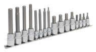 "Sealey AK6219 Hex Socket Bit Set 16pc 1/4"" & 3/8""Sq Drive"