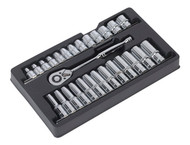 "Sealey AK66483 Ratchet Wrench & Socket Rail Set 27pc 1/2""Sq Drive"