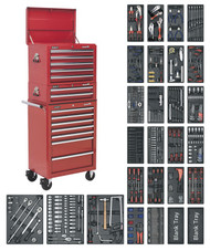 Sealey SPTCOMBO1 Tool Chest Combination 14 Drawer with Ball Bearing Runners - Red & 1179pc Tool Kit