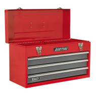 Sealey AP9243BB Tool Chest 3 Drawer Portable with Ball Bearing Runners - Red/Grey