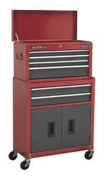 Sealey AP2200BB Topchest & Rollcab Combination 6 Drawer with Ball Bearing Runners - Red/Grey