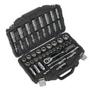 """Sealey AK8954 Socket Set 48pc 1/2""""Sq Drive 6pt WallDriveÌ´åMetric"""