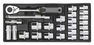 """Sealey TBT35 Tool Tray with Socket Set 26pc 1/2""""Sq Drive"""