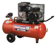 Sealey SAC0502B Compressor 50ltr Belt Drive 2hp with Cast Cylinders & Wheels