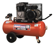Sealey SAC1503B Compressor 50ltr Belt Drive 3hp with Cast Cylinders & Wheels