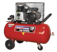 Sealey SAC2103B Compressor 100ltr Belt Drive 3hp with Cast Cylinders & Wheels