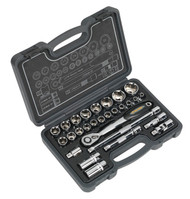 "Sealey AK7953 Socket Set 28pc 1/2""Sq Drive 6pt WallDriveå¬ Metric"