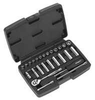 "Siegen S0910 Socket Set 26pc 1/4""Sq Drive 6pt WallDriveå¬ Metric"