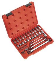 """Sealey AK6198 TRX-Star* Socket, Bit & Spanner Set 35pc 3/8""""Sq Drive"""