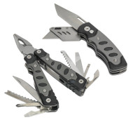 Sealey PK27 Multi-Tool & Twin Blade Knife Set 2pc 15 Function