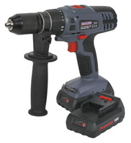 Sealey CP6018V Cordless Lithium-ion Hammer Drill/Driver 18V Super Torque 1hr Charge - 2 Batteries