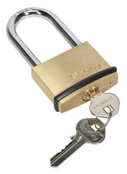 Sealey PL202L Brass Body Padlock Long Shackle 50mm