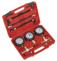 Sealey MS100 Motorcycle Compression & Fuel Pressure Gauge Set 3pc