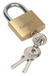 Siegen S0987 Brass Body Padlock with Brass Cylinder 40mm
