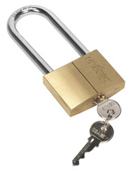 Siegen S0991 Brass Body Padlock with Brass Cylinder Long Shackle 60mm