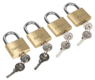 Siegen S0992 Brass Body Padlock with Brass Cylinder 40mm Key Alike Pack of 4