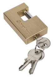 Sealey PL108 Brass Body Shutter Padlock 60mm