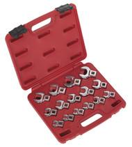 """Sealey AK59891 Crow's Foot Open End Spanner Set 15pc 3/8""""Sq Drive Metric"""