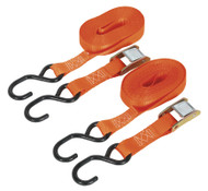 Sealey TD05050CS Cam Buckle Tie Down 25mm x 5mtr Polyester Webbing with S Hooks 500kg Load Test