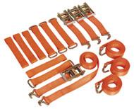 Sealey TDRWKIT Car Transporter Ratchet Tie Down Alloy/Steel Wheel Kit 4pc 50mm x 3mtr 4500kg Load Test