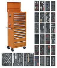 Sealey SPTOCOMBO1 Tool Chest Combination 14 Drawer with Ball Bearing Runners - Orange & 1179pc Tool Kit