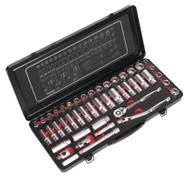 """Sealey AK692P Socket Set 45pc 3/8""""Sq Drive 6pt WallDriveå¬ - DuoMetricå¬ Platinum Series"""