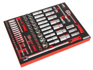 """Sealey TBTP01 Tool Tray with Socket Set 79pc 1/4"""" & 1/2""""Sq Drive"""