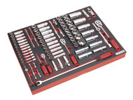 """Sealey TBTP02 Tool Tray with Socket Set 91pc 1/4"""", 3/8"""" & 1/2""""Sq Drive"""