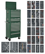 Sealey SPTGCOMBO1 Tool Chest Combination 14 Drawer with Ball Bearing Runners - Green & 1179pc Tool Kit