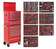 Sealey TBTPCOMBO1 Tool Chest Combination 14 Drawer with Ball Bearing Runners - Red & 446pc Tool Kit