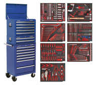 Sealey TBTPCOMBO5 Tool Chest Combination 14 Drawer with Ball Bearing Runners - Blue & 446pc Tool Kit