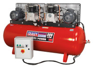 Sealey SAC4505555B Compressor 500ltr Belt Drive 2 x 5.5hp 3ph 2-Stage with Cast Cylinders
