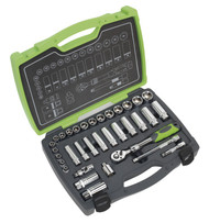 """Sealey AK7960 Socket Set 34pc 3/8""""Sq Drive 6pt WallDriveå¬ Metric"""