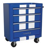 Sealey AP28204BWS Rollcab 4 Drawer Retro Style- Blue with White Stripes