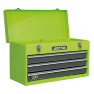 Sealey AP9243BBHV Tool Chest 3 Drawer Portable with Ball Bearing Runners - Hi-Vis Green