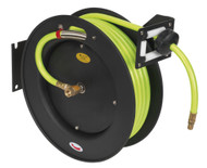 Sealey SA841HV Retractable Air Hose Metal Reel 15mtr åø10mm ID High Visibility TPR Hose