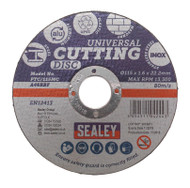 Sealey PTC/115MC Multipurpose Cutting Disc åø115 x 1.6mm 22.2mm Bore