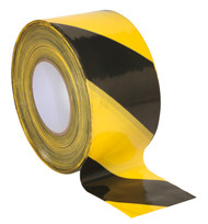 Sealey BTBY Hazard Warning Barrier Tape 80mm x 100mtr Black/Yellow Non-Adhesive