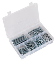 Sealey AB051SNW Setscrew, Nut & Washer Assortment 220pc High Tensile M8 Metric