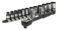 """Sealey AK7973 Socket Set 13pc 3/8""""Sq Drive Total Driveå¬ Black Series"""