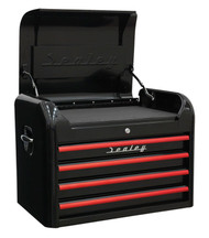 Sealey AP28104BR Topchest 4 Drawer Retro Style - Black with Red Anodised Drawer Pulls