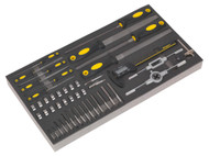 Siegen S01132 Tool Tray with Tap & Die, File & Calliper Set 48pc