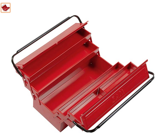 Colour: Red Joint using biellettes. Removable carry handle. Lockable with a padlock (not included).